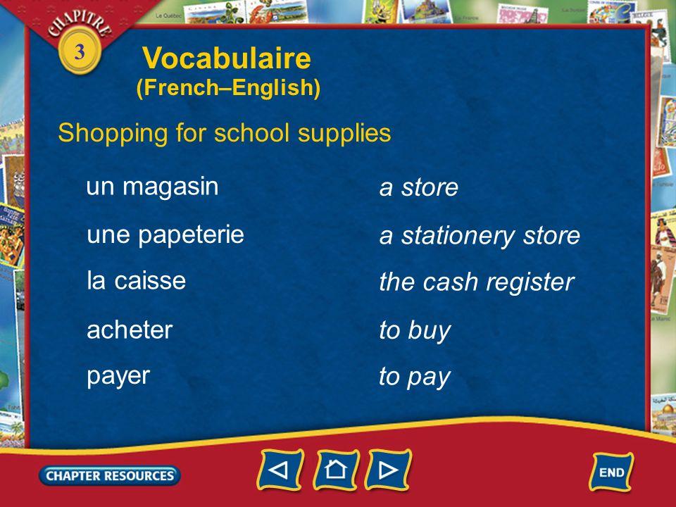 3 Identifying school supplies a backpack un sac à dos a tape a video, a DVD a compact disc une cassette une vidéo, un DVD un CD Vocabulaire (French–En