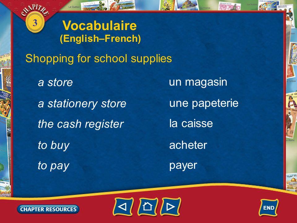 3 Identifying school supplies a backpack un sac à dos a tape a video, a DVD a compact disc une cassette une vidéo, un DVD un CD Vocabulaire (English–F