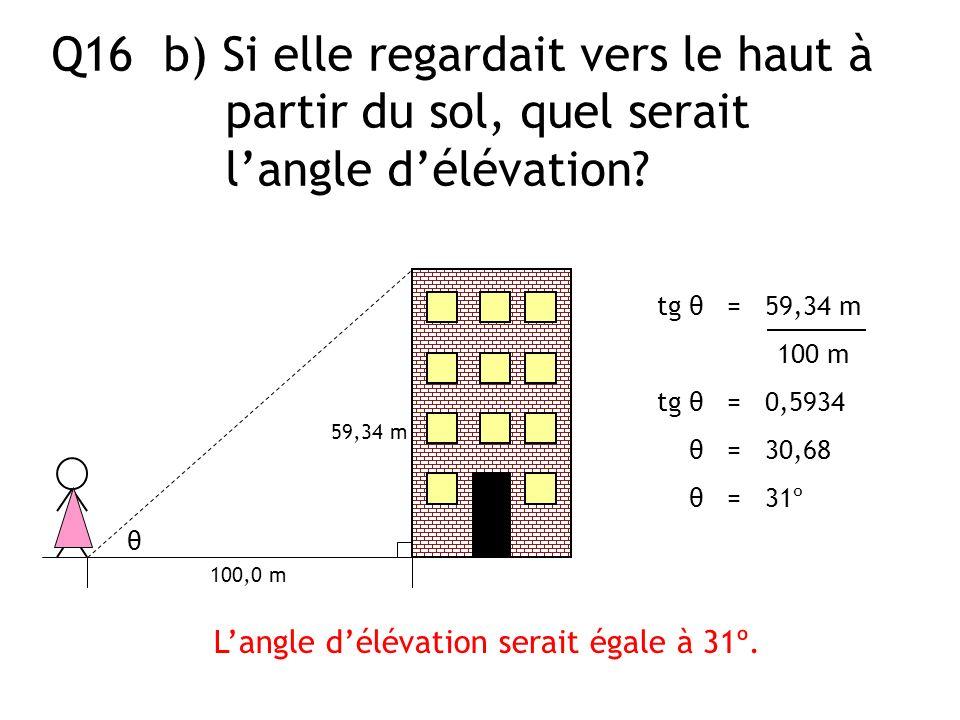 Q16 b) Si elle regardait vers le haut à partir du sol, quel serait langle délévation? 100,0 m θ Langle délévation serait égale à 31º. tg θ = 59,34 m 1