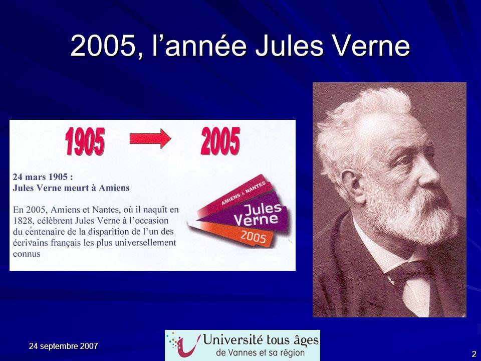 24 septembre 2007 33 Jules Verne et lélectricité Lannée suivante, en 1893, dans Lîle à hélices, il reprend la même image…