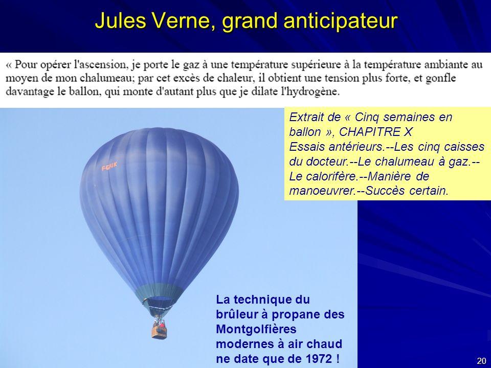 24 septembre 2007 20 Jules Verne, grand anticipateur La technique du brûleur à propane des Montgolfières modernes à air chaud ne date que de 1972 ! Ex