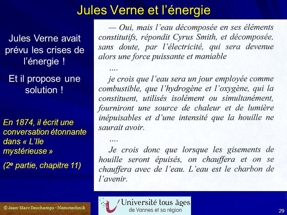 24 septembre 2007 29 Jules Verne et lénergie Jules Verne avait prévu les crises de lénergie ! Et il propose une solution ! En 1874, il écrit une conve