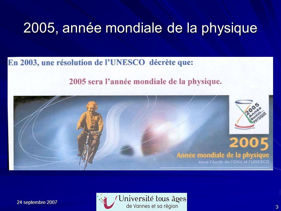 24 septembre 2007 3 2005, année mondiale de la physique