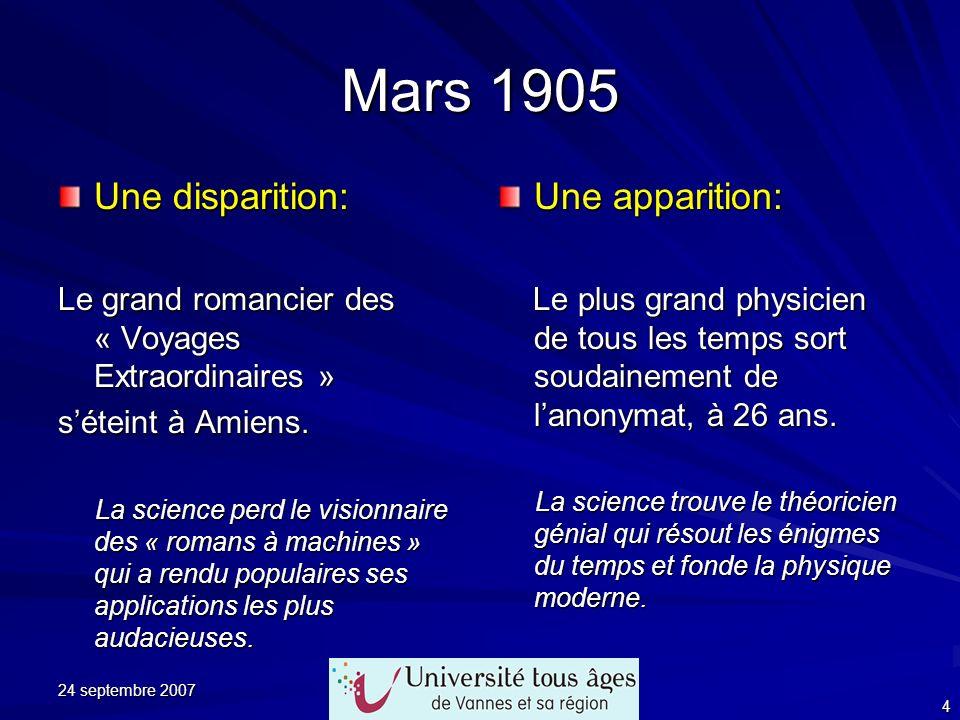 24 septembre 2007 4 Mars 1905 Une disparition: Le grand romancier des « Voyages Extraordinaires » séteint à Amiens. La science perd le visionnaire des