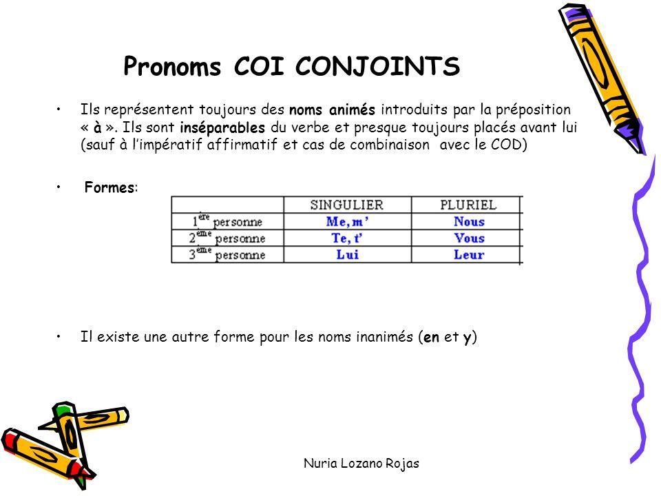 Nuria Lozano Rojas Pronoms COI CONJOINTS Ils représentent toujours des noms animés introduits par la préposition « à ».