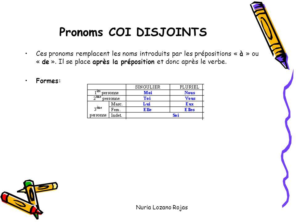 Nuria Lozano Rojas Pronoms COI DISJOINTS Ces pronoms remplacent les noms introduits par les prépositions « à » ou « de ».
