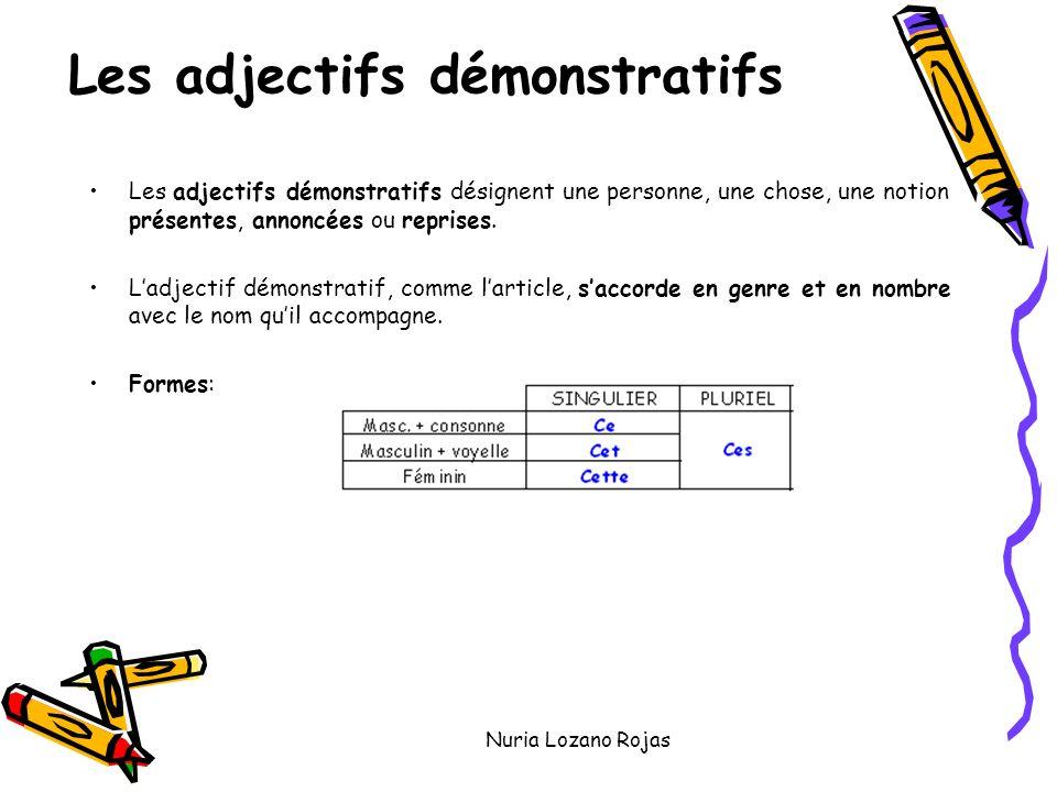 Nuria Lozano Rojas Les adjectifs démonstratifs Les adjectifs démonstratifs désignent une personne, une chose, une notion présentes, annoncées ou reprises.