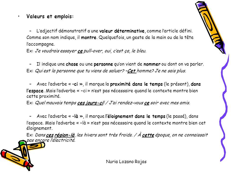 Nuria Lozano Rojas Valeurs et emplois: –Ladjectif démonstratif a une valeur déterminative, comme larticle défini.