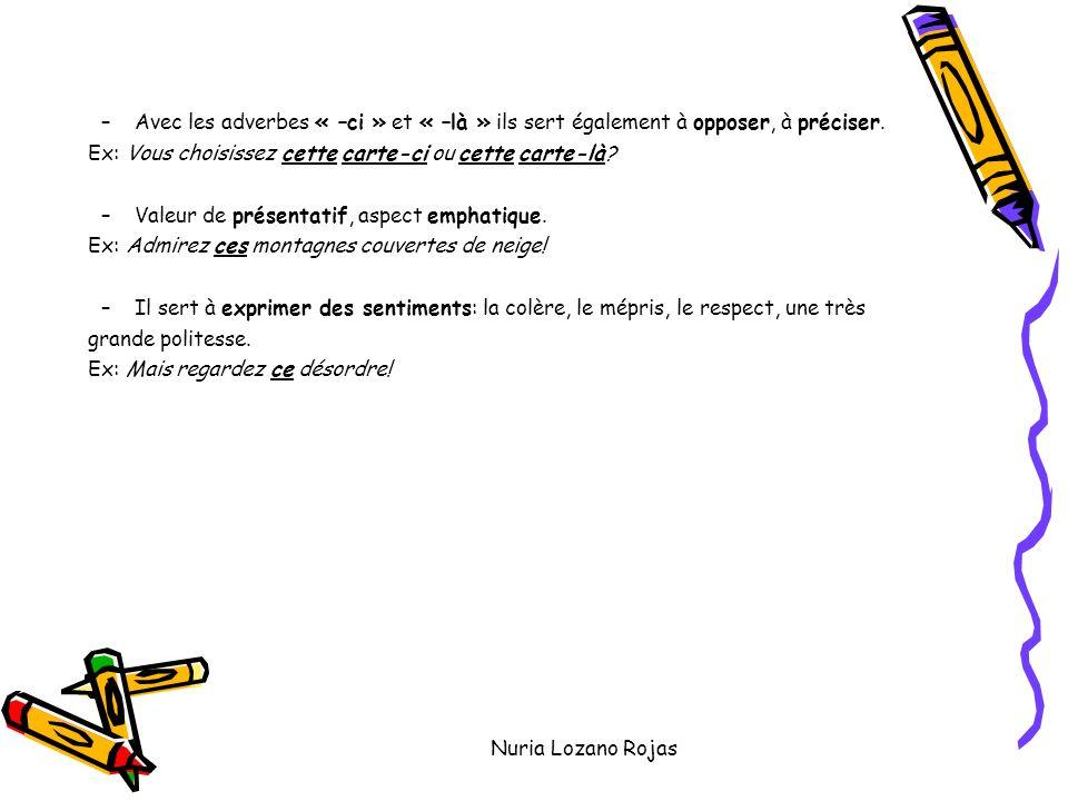 Nuria Lozano Rojas –Avec les adverbes « –ci » et « –là » ils sert également à opposer, à préciser.