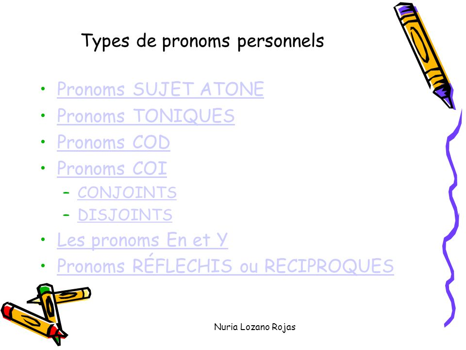 Nuria Lozano Rojas Types de pronoms personnels Pronoms SUJET ATONE Pronoms TONIQUES Pronoms COD Pronoms COI –CONJOINTSCONJOINTS –DISJOINTSDISJOINTS Les pronoms En et Y Pronoms RÉFLECHIS ou RECIPROQUES
