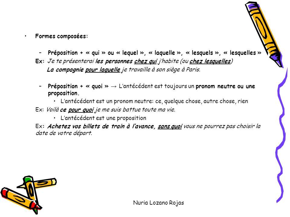 Nuria Lozano Rojas Formes composées: –Préposition + « qui » ou « lequel », « laquelle », « lesquels », « lesquelles » Ex: Je te présenterai les personnes chez qui jhabite (ou chez lesquelles) La compagnie pour laquelle je travaille à son siège à Paris.
