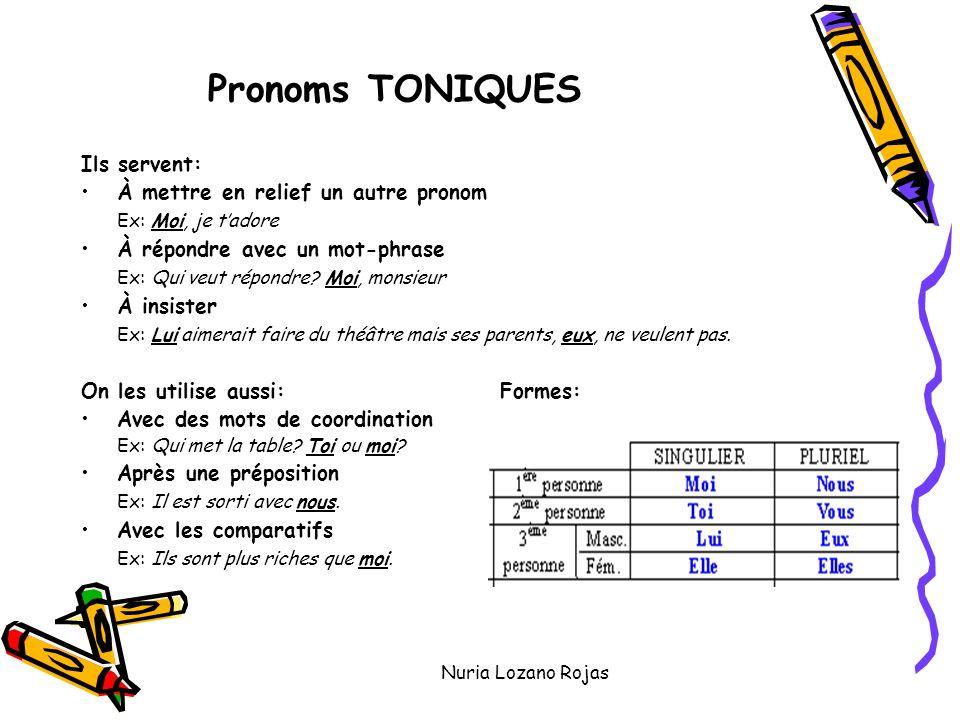 Nuria Lozano Rojas Pronoms TONIQUES Ils servent: À mettre en relief un autre pronom Ex: Moi, je tadore À répondre avec un mot-phrase Ex: Qui veut répondre.