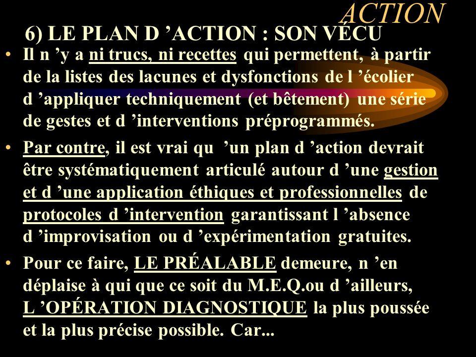 ACTION 6) LE PLAN D ACTION : SON VÉCU Il n y a ni trucs, ni recettes qui permettent, à partir de la listes des lacunes et dysfonctions de l écolier d