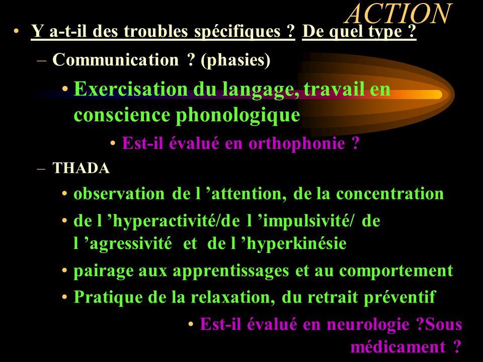 ACTION Y a-t-il des troubles spécifiques ? De quel type ? –Communication ? (phasies) Exercisation du langage, travail en conscience phonologique Est-i