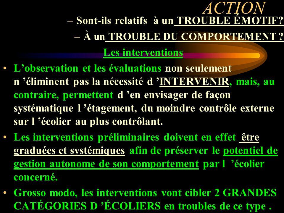 ACTION –Sont-ils relatifs à un TROUBLE ÉMOTIF? –À un TROUBLE DU COMPORTEMENT ? Les interventions Lobservation et les évaluations non seulement n élimi