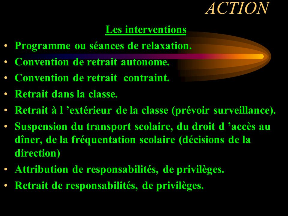 ACTION Les interventions Programme ou séances de relaxation. Convention de retrait autonome. Convention de retrait contraint. Retrait dans la classe.