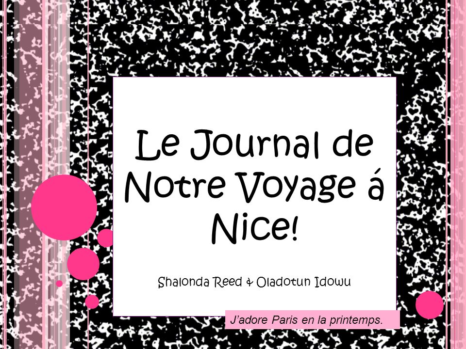 Le Journal de Notre Voyage á Nice! Shalonda Reed & Oladotun Idowu Jadore Paris en la printemps.