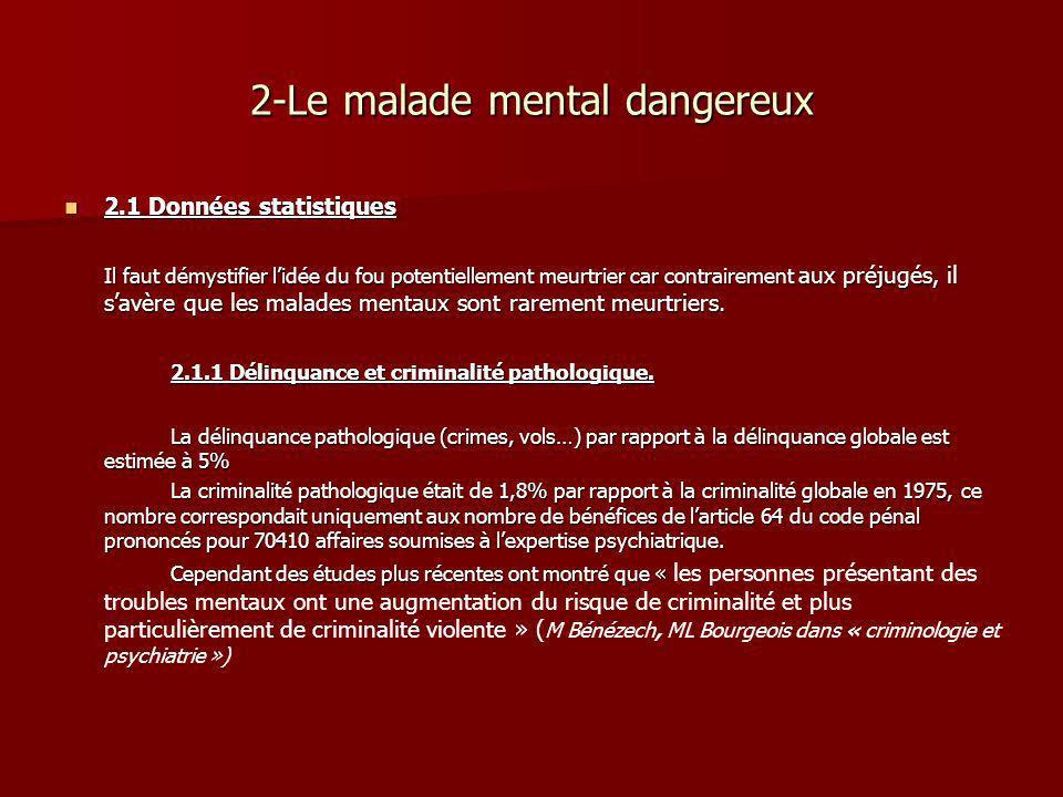 2-Le malade mental dangereux 2.1 Données statistiques 2.1 Données statistiques Il faut démystifier lidée du fou potentiellement meurtrier car contrair