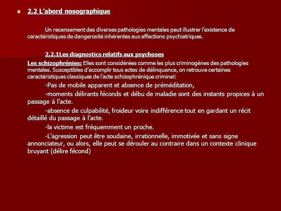 2.2 Labord nosographique 2.2 Labord nosographique Un recensement des diverses pathologies mentales peut illustrer lexistence de caractéristiques de da