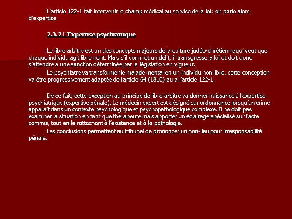 Larticle 122-1 fait intervenir le champ médical au service de la loi: on parle alors dexpertise. 2.3.2 LExpertise psychiatrique Le libre arbitre est u