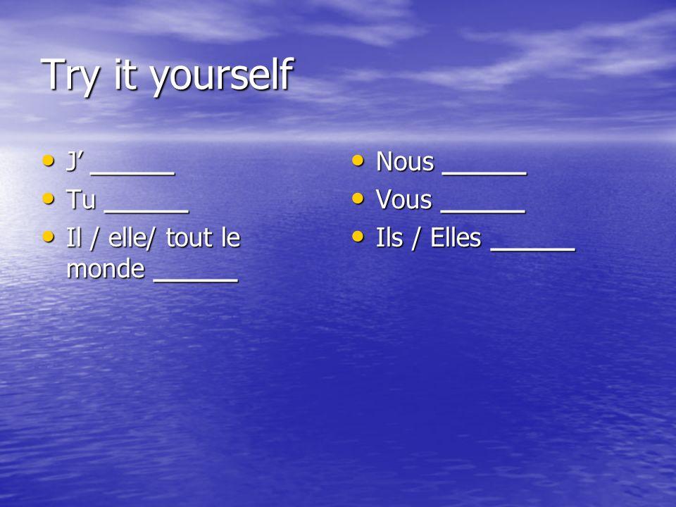 Try it yourself J _____ J _____ Tu _____ Tu _____ Il / elle/ tout le monde _____ Il / elle/ tout le monde _____ Nous _____ Nous _____ Vous _____ Vous _____ Ils / Elles _____ Ils / Elles _____