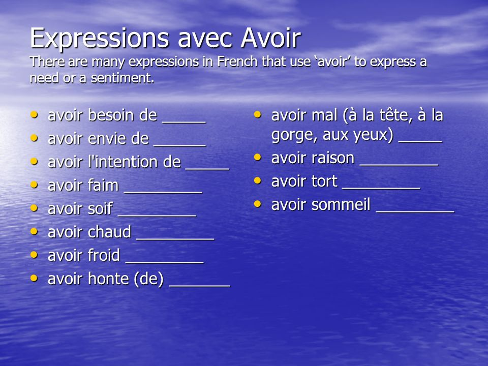 How to use them together Pronom + avoir + expression E.g. Jai besoin de la pizza!