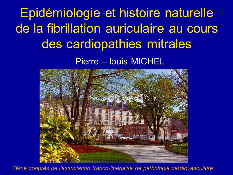 Epidémiologie et histoire naturelle de la fibrillation auriculaire au cours des cardiopathies mitrales Pierre – louis MICHEL 3éme congrès de lassociat