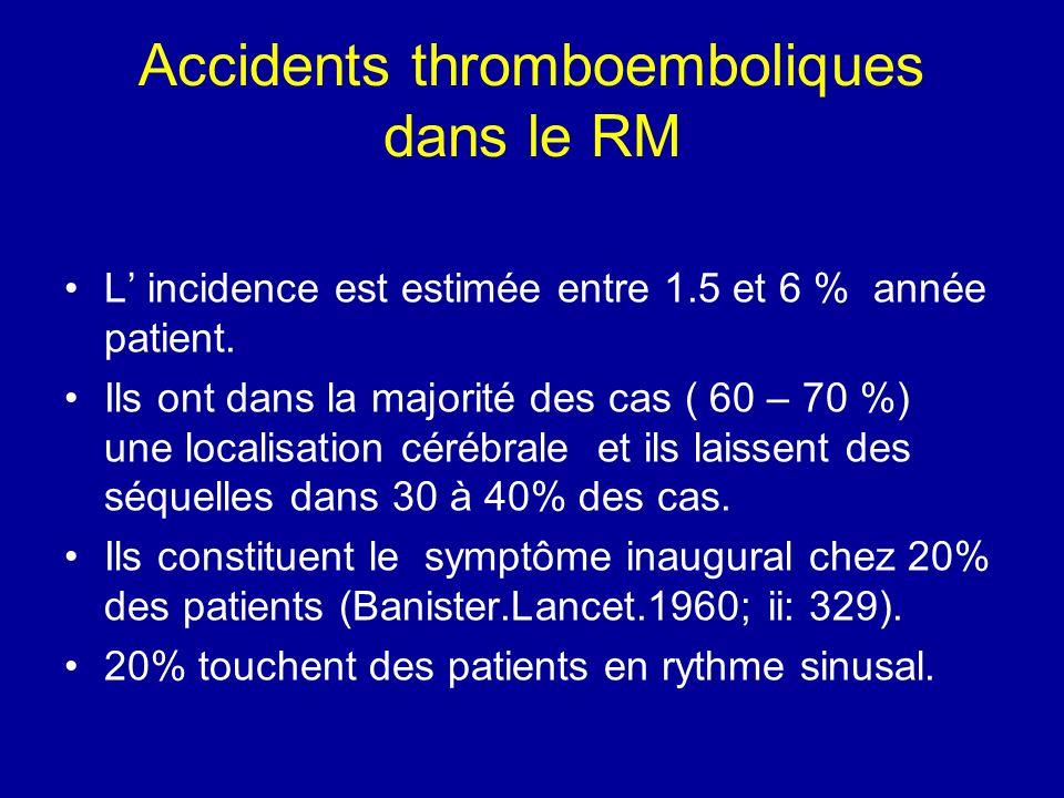 Accidents thromboemboliques dans le RM L incidence est estimée entre 1.5 et 6 % année patient. Ils ont dans la majorité des cas ( 60 – 70 %) une local