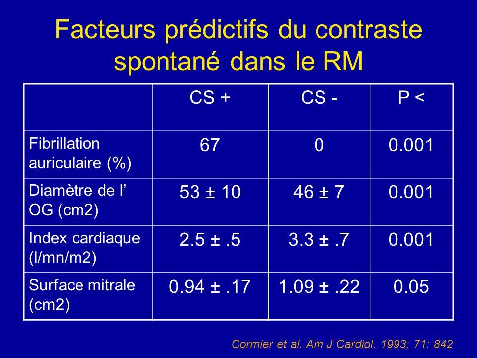 Facteurs prédictifs du contraste spontané dans le RM CS +CS -P < Fibrillation auriculaire (%) 6700.001 Diamètre de l OG (cm2) 53 ± 1046 ± 70.001 Index