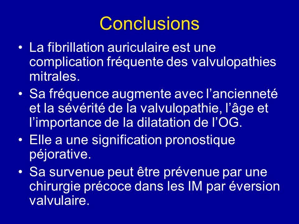 Conclusions La fibrillation auriculaire est une complication fréquente des valvulopathies mitrales. Sa fréquence augmente avec lancienneté et la sévér