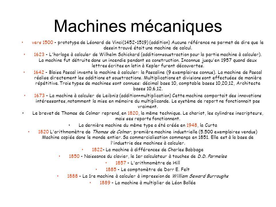 Machines mécaniques vers 1500 - prototype de Léonard de Vinci(1452-1519) (addition) Aucune référence ne permet de dire que le dessin trouvé était une