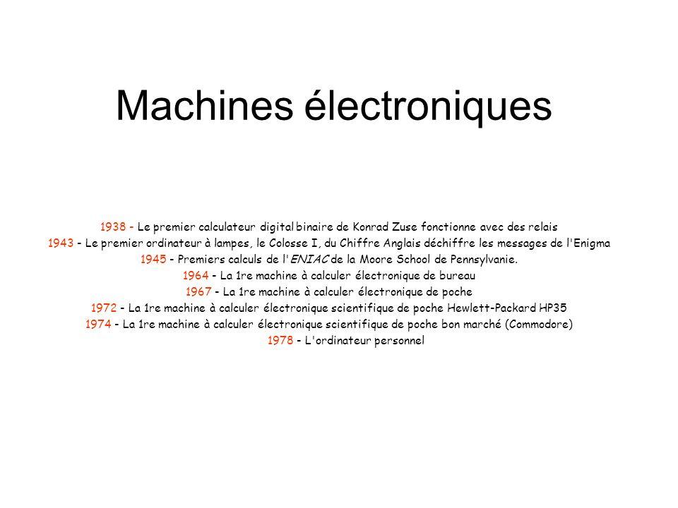Machines électroniques 1938 - Le premier calculateur digital binaire de Konrad Zuse fonctionne avec des relais 1943 - Le premier ordinateur à lampes,