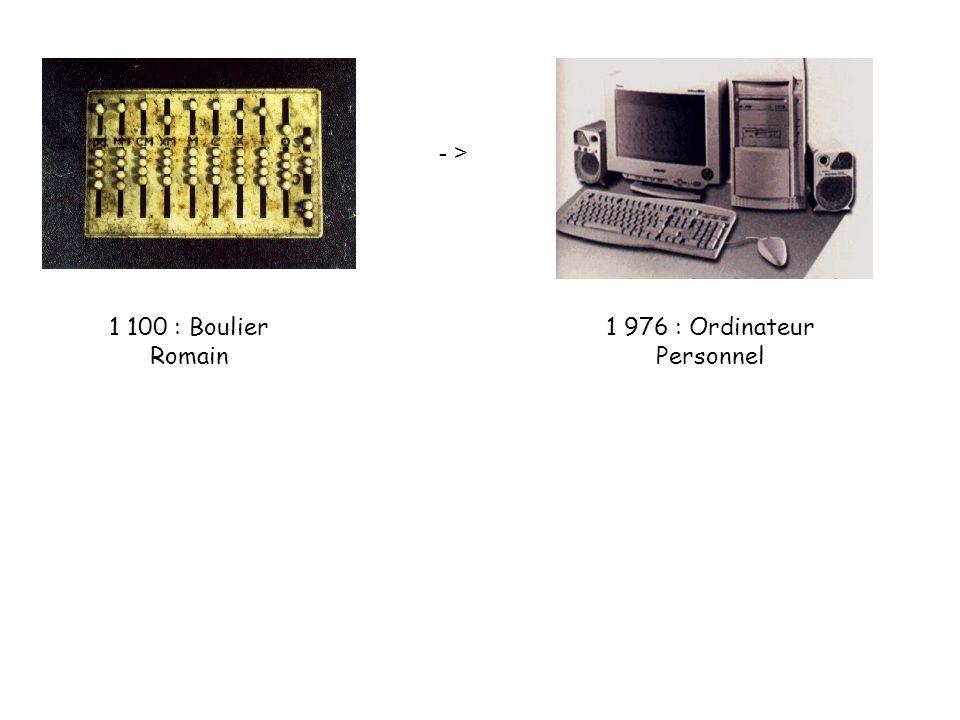 - > 1 100 : Boulier Romain 1 976 : Ordinateur Personnel