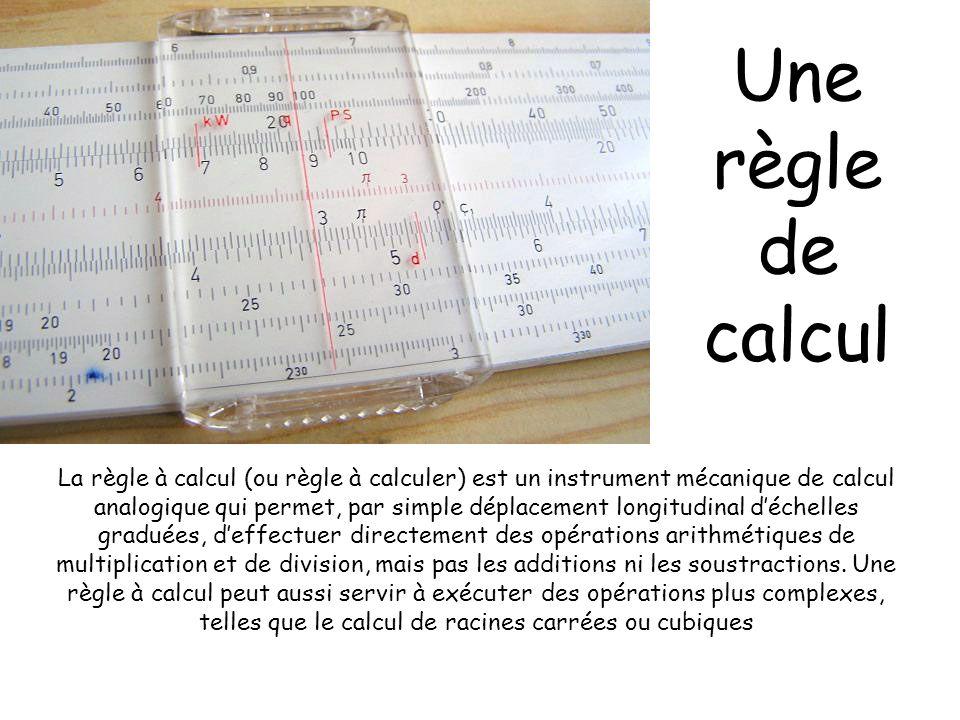 Une règle de calcul La règle à calcul (ou règle à calculer) est un instrument mécanique de calcul analogique qui permet, par simple déplacement longit
