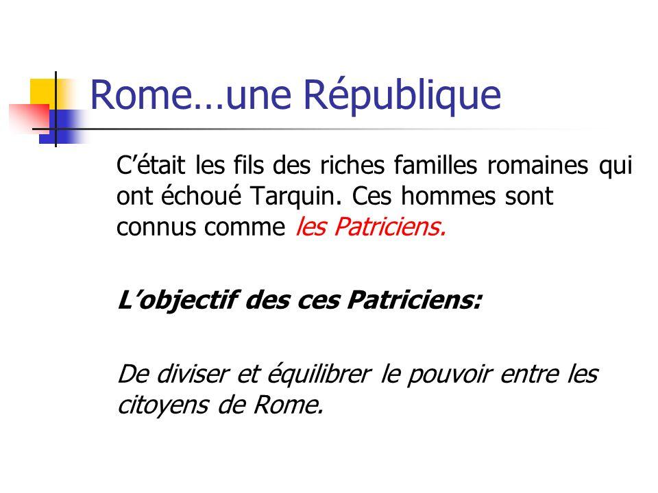 Rome…une République Cétait les fils des riches familles romaines qui ont échoué Tarquin. Ces hommes sont connus comme les Patriciens. Lobjectif des ce