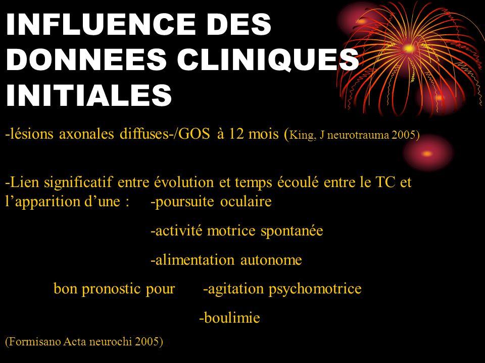 INFLUENCE DES DONNEES CLINIQUES INITIALES -lésions axonales diffuses-/GOS à 12 mois ( King, J neurotrauma 2005) -Lien significatif entre évolution et