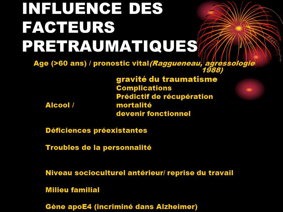 INFLUENCE DES FACTEURS PRETRAUMATIQUES Age (>60 ans) / pronostic vital(Raggueneau, agressologie 1988) gravité du traumatisme Complications Prédictif d
