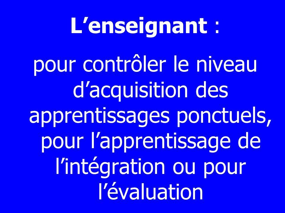 Lenseignant : pour contrôler le niveau dacquisition des apprentissages ponctuels, pour lapprentissage de lintégration ou pour lévaluation