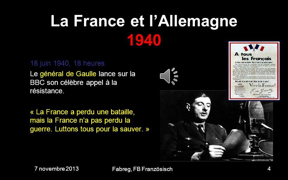 La France et lAllemagne 1940 L armistice divise le territoire en deux zones séparées par une ligne de démarcation : au nord, la zone occupée par l armée allemande, au sud, la zone libre, où s installe le gouvernement de Vichy.