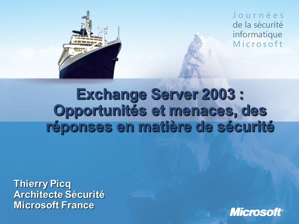 Exchange Server 2003 : Opportunités et menaces, des réponses en matière de sécurité Thierry Picq Architecte Sécurité Microsoft France