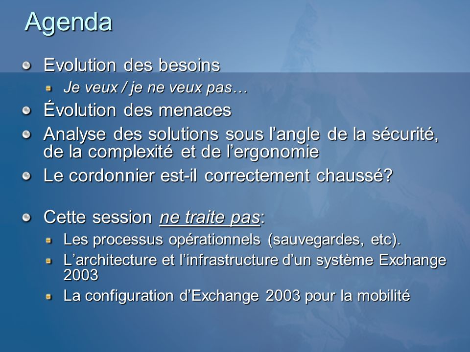 Protection des données Plus exposé quun PC traditionnel Intégration des services de crypto pour les applications Certification FIPS 140-2 (WM 5.0) S/MIME (WM 5.0) 128-bit Cryptographic services: Crypto API v2 Signature de code (limite linstallation : SP) API Anti-virus: ces virus peuvent exister et se propager (cf.