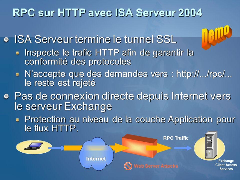 RPC sur HTTP avec ISA Serveur 2004 ISA Serveur termine le tunnel SSL Inspecte le trafic HTTP afin de garantir la conformité des protocoles Naccepte qu
