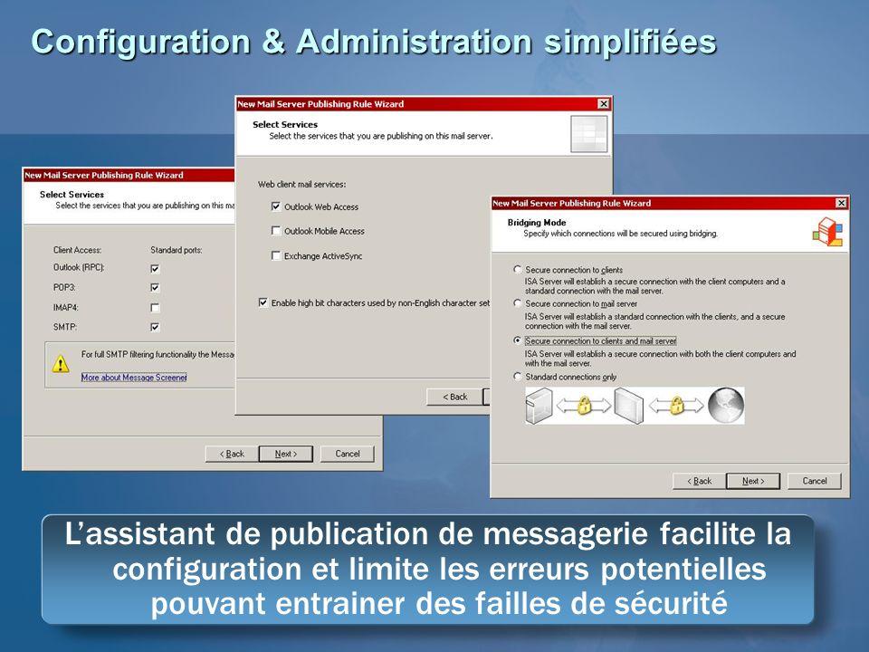 Configuration & Administration simplifiées Lassistant de publication de messagerie facilite la configuration et limite les erreurs potentielles pouvan