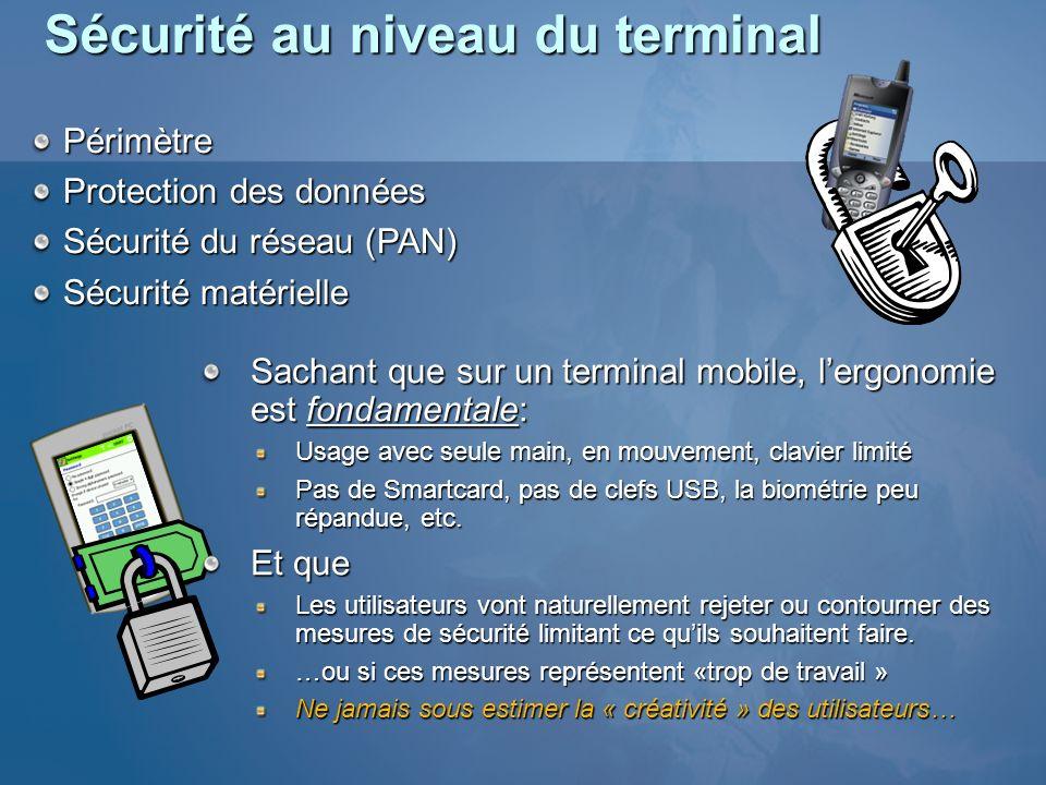 Sécurité au niveau du terminal Périmètre Périmètre Protection des données Protection des données Sécurité du réseau (PAN) Sécurité du réseau (PAN) Séc