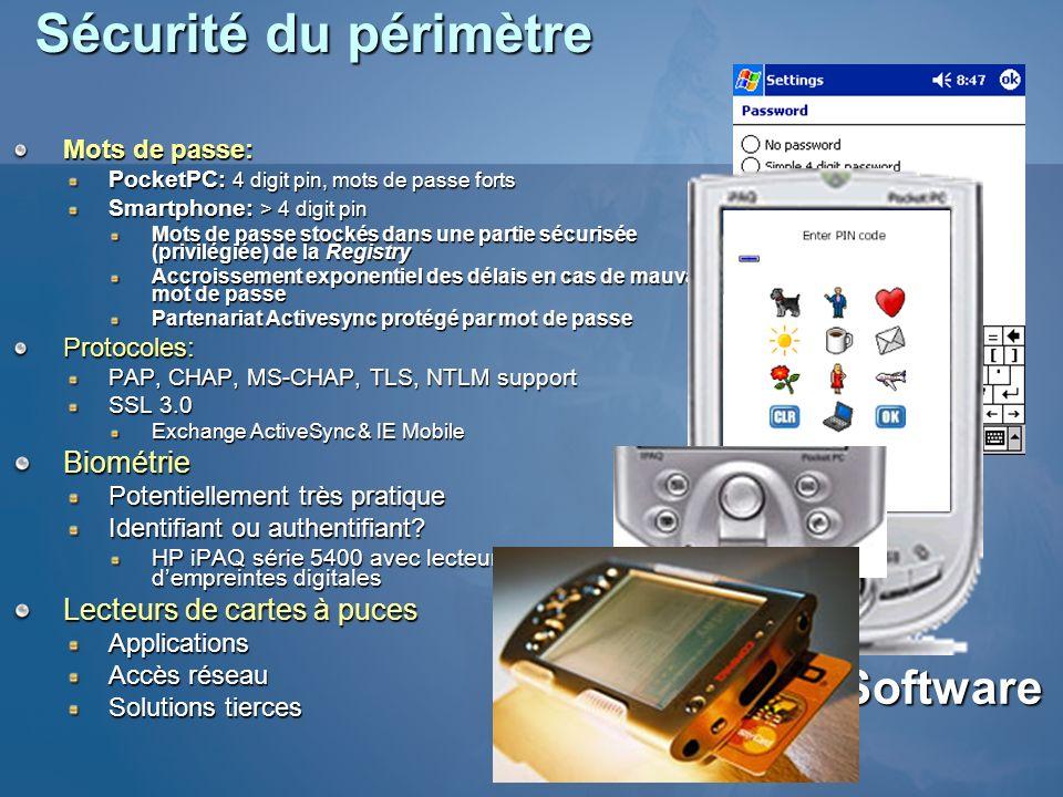 Sécurité du périmètre Mots de passe: PocketPC: 4 digit pin, mots de passe forts Smartphone: > 4 digit pin Mots de passe stockés dans une partie sécuri