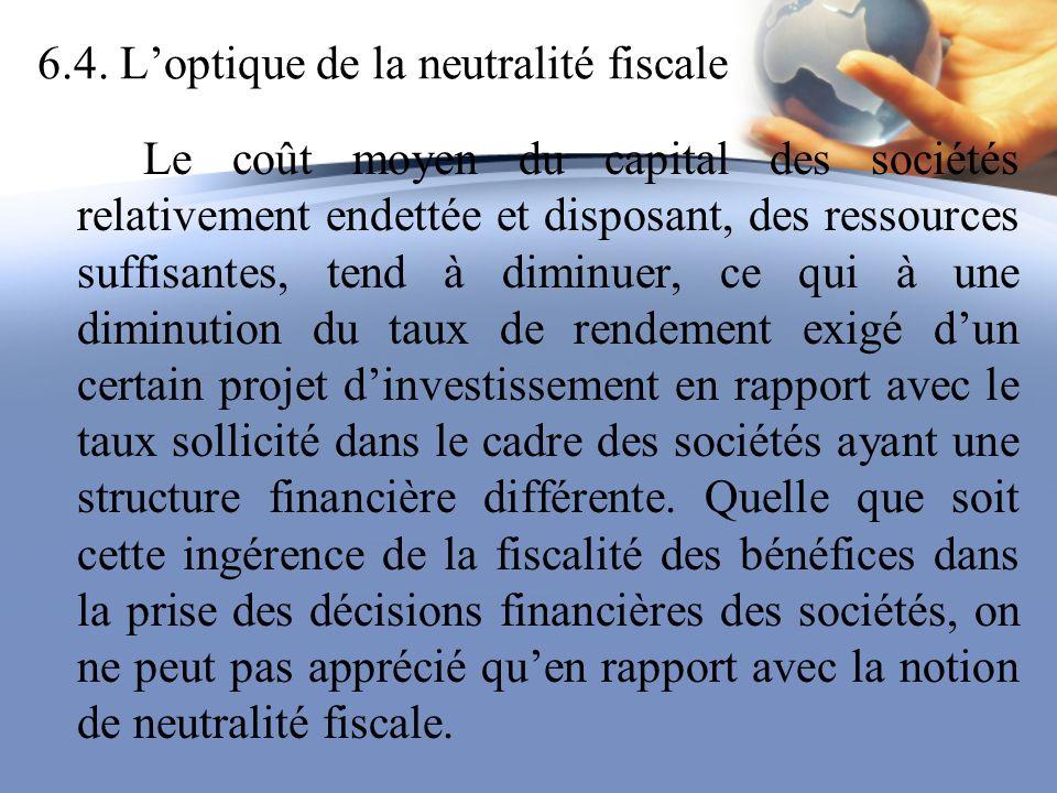 6.4. Loptique de la neutralité fiscale Le coût moyen du capital des sociétés relativement endettée et disposant, des ressources suffisantes, tend à di