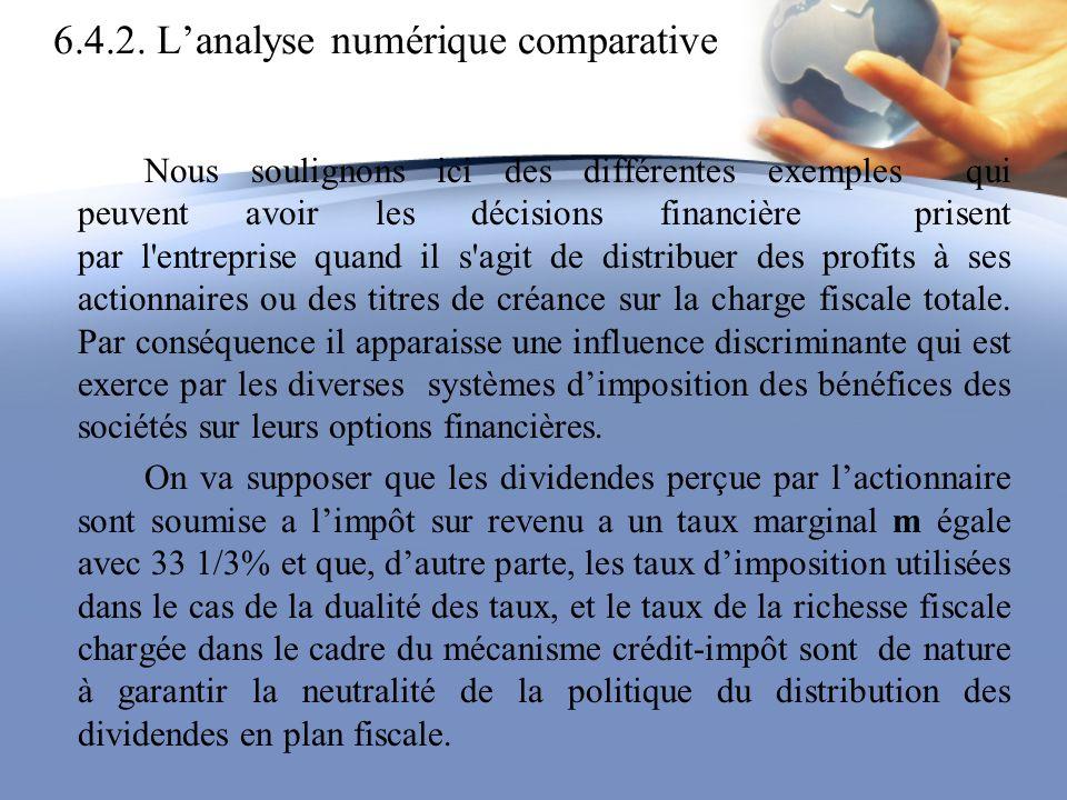 6.4.2. Lanalyse numérique comparative Nous soulignons ici des différentes exemples qui peuvent avoir les décisions financière prisent par l'entreprise