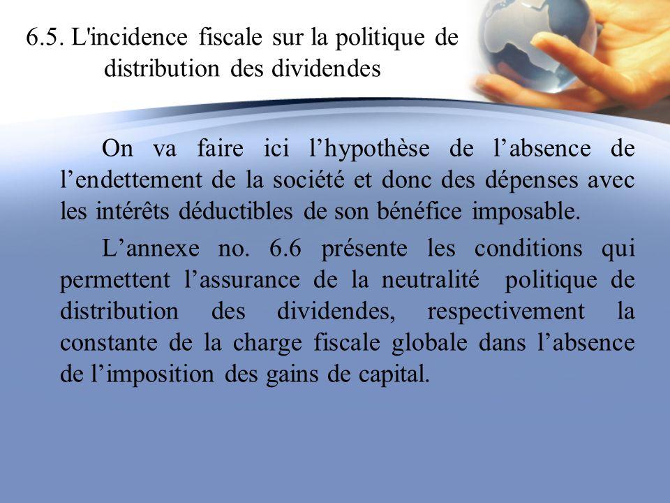 6.5. L'incidence fiscale sur la politique de distribution des dividendes On va faire ici lhypothèse de labsence de lendettement de la société et donc