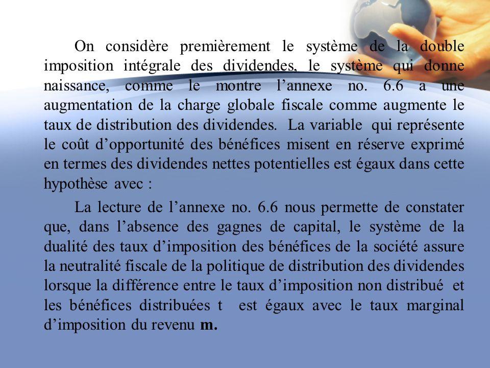 On considère premièrement le système de la double imposition intégrale des dividendes, le système qui donne naissance, comme le montre lannexe no. 6.6