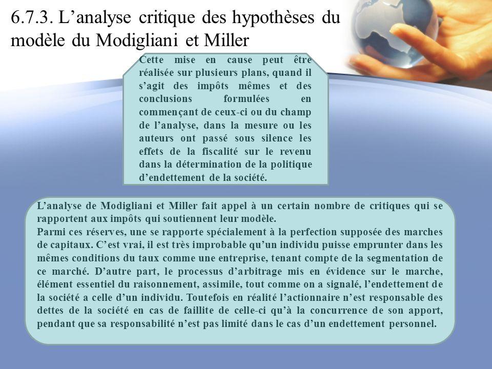 6.7.3. Lanalyse critique des hypothèses du modèle du Modigliani et Miller Cette mise en cause peut être réalisée sur plusieurs plans, quand il sagit d